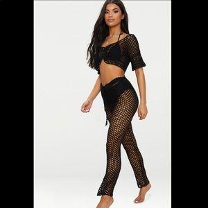 PrettyLittleThing Black Crocheted Pants